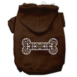 Henna Bone Screen Print Pet Hoodies Brown Size Sm (10)